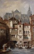 Manner of Samuel Prout, watercolour, Riverside scene with cathedral beyond, 48 x 31cm