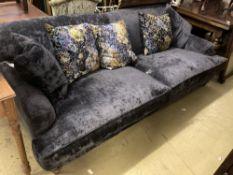 A modern contemporary large sofa upholstered in dark blue velvet, length 230cm, depth 110cm,