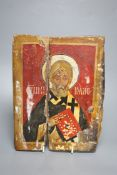 Greek School, icon of a saint, painted on wood, 23.5 x 19cm