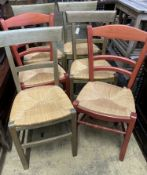Six (four plus two) French stained beech rush seated dining chairs