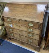 A George III faded mahogany bureau, width 97cm, depth 50cm, height 106cm