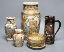 Five pieces of Satsuma pottery together with a Sumida pottery jug, tallest 31cm