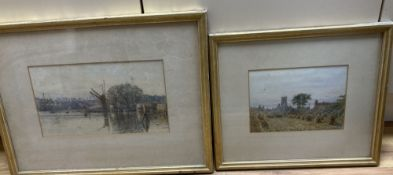 H.R. 1886, two watercolours, Harbour scene and View of a cornfield, monogrammed and dated, 17.5 x