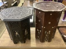 Two Moorish octagonal carved occasional tables, larger width 38cm, height 42cm