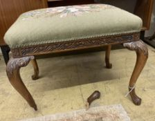 A George III style floral tapestry upholstered rectangular topped mahogany dressing stool, in the