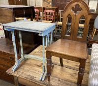 A nest of two painted rectangular tea tables and a Victorian Gothic style walnut hall chair