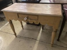 A Victorian pine cream painted console table with drawer, width 98cm, depth 43cm, height 76cm