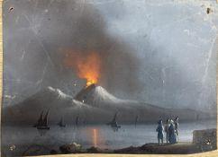 19th century Neapolitan School, gouache on card, Vesuvius erupting at night, 12.5 x 18cm, unframed