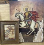 Eastern European School, tempera on panel, Icon of St Minas on horseback, 36 x 29.5cm and a small