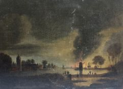 After Pether, oil on canvas, Estuary scene at night with fire beside a windmill, 31 x 42cm,