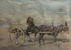 Anton Van Anrooy (1870-1949), watercolour, Palermo donkey cart, signed with letter from the artist