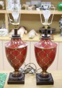 A pair of toleware vase shaped table lamps, height 48cm exl. electrical fittings