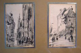 Frank Myers Boggs (1855-1926), 2 pencil sketches, Views of Caudebec and Honfleur, initialled, 11 x