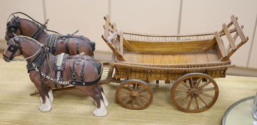 Two Beswick matt models of Burnham beauty with harnesses, length 32cm, and a scratch built model