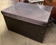 A rectangular brown leather trunk, length 70cm, depth 50cm, height 40cm