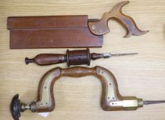 A Victorian beechwood brace, a Victorian tenon saw and one other tool (3)