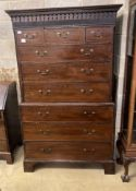 A George III mahogany chest on chest, width 110cm, depth 58cm, height 186cm