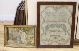 A 19th century sampler, in rosewood frame, together with a Regency silkwork, framed, largest overall