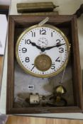 A Brillie wood and marble cased clocking on / off electric wall clock, length 46cm