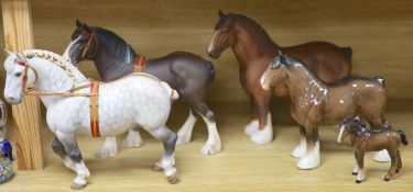 Five Beswick shire horses and a foal