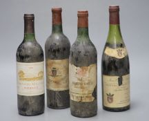 A 1977 Nuits-St-Georges Ier Cru and three French Bordeaux's