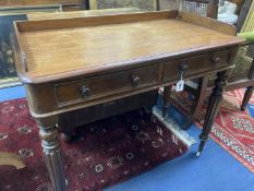 A Victorian mahogany two drawer side table, width 98cm, depth 50cm, height 82cm