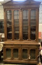 A Victorian oak library bookcase, length 160cm, depth 54cm, height 280cmCONDITION: The cornice is