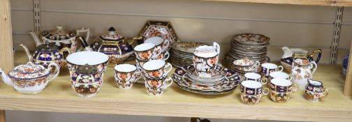 A quantity of Davenport and Staffordshire Imari pattern tea and coffee wares