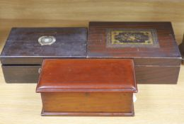 Two 19th century boxes and a Victorian coromandel writing slope, 35cm