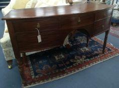 A Regency mahogany bowfront sideboard, width 145cm, depth 51cm, height 82cm