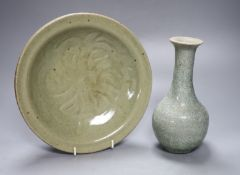 James Walford (1913-2003). A celadon glazed dish, diameter 24cm, and a crackle glazed vase,