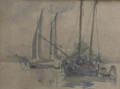 Attributed to Alfred Hayward, watercolour, Fishing boats off Venice, 25 x 33.5cm