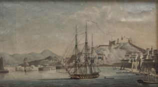 Attributed to Thomas Lyde Hornbrook (1780-1855), watercolour, Warship in Elba harbour, 11 x 20cm