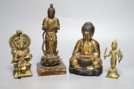 A Japanese gilt lacquered standing Buddha, a gilt copper Buddha and two Indian figures, tallest