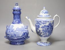 A Staffordshire pearlware blue and white pottery coffee pot and a Copeland Spode pilgrim flask,