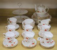 A Colclough floral decorated fifty nine piece part tea service