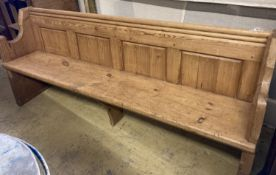 A Victorian stripped pine pew, length 194cm, depth 50cm, height 81cm