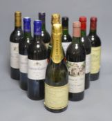 Eight assorted wines including Chateau Batailley 1994, one NV Champagne and one sparkling wine.
