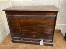 An early 20th century mahogany tambour table top office cabinet, width 68cm, depth 31cm, height