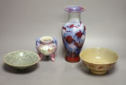 Four Chinese ceramic items, including a vase, censer and two bowls, Qing period and later.,