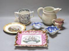 A quantity of mixed Victorian ceramics including a Sunderland lustre plaque, a jug, a two handled