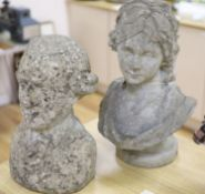 Two reconstituted stone busts, tallest 51cm