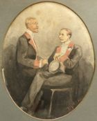 Diane '94, watercolour, Portrait of two gentleman, oval, signed and dated, 26 x 20cm
