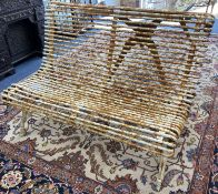 A vintage French cast and wrought iron garden bench, length 120cm, depth 70cm, height 82cm