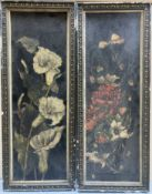 English School c.1900, a pair of oil on leather?, Still lifes of lilies and poppies, 52 x 17cm