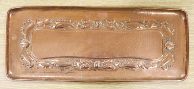 A Newlyn copper tray, stamped mark, 47 x 19.5cm