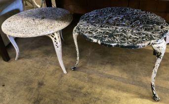 A pair of painted circular aluminium garden tables, larger 61cm diameter, height 44cm