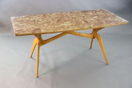 A Carlo Graffi and Franco Compo glass topped beech dining table, of canted rectangular form, with