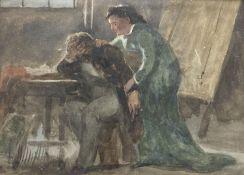 John Absolon, (1815-1895), watercolour, 'Rejected', signed, 18 x 25cm
