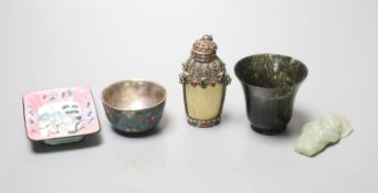 Assorted Chinese small items, including a celadon jade figure of a boy grasping a lotus leaf, 6.7cm,